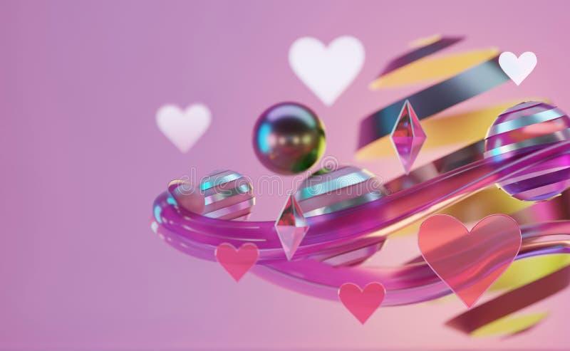 Gruppe abstrakter Herzstücke und Objekte schwebt stock abbildung