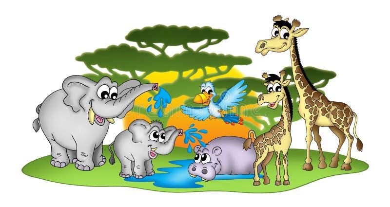 Gruppe afrikanische Tiere lizenzfreie abbildung