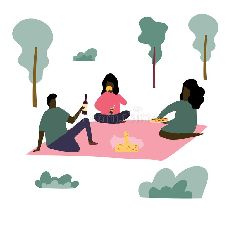 Gruppe afroe-amerikanisch Leute haben ein Picknick am Park lizenzfreie abbildung
