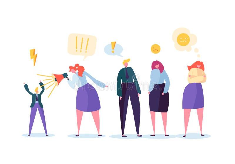 Gruppe aggressive Leute Charaktere, die lauten Skandal-Streit und Schrei machen Verärgerter Mann und Frau Gewalttätiges Verhalten vektor abbildung