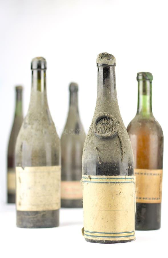 Gruppe alte Weinleseflaschen Wein vollständig staubig stockfoto