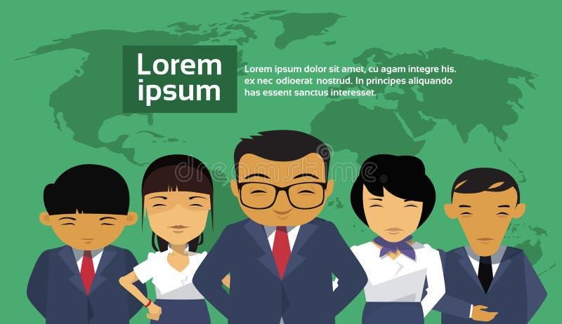 Gruppe asiatische Geschäftsleute über Weltkarte-Hintergrund-tragendem Anzugs-chinesischem Wirtschaftler-Angestellt-Team stock abbildung