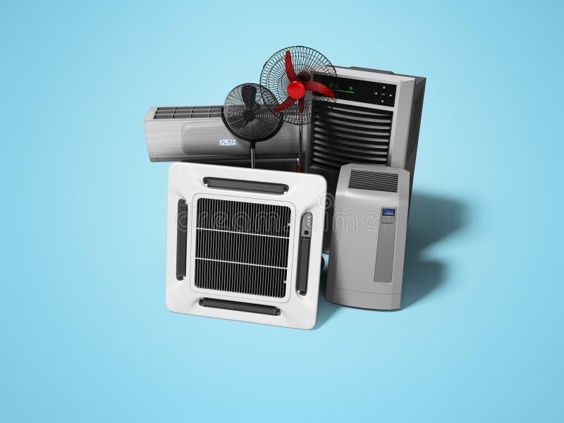 Gruppe Ausrüstung für das Abkühlen und Klimaanlage der Voraussetzungen 3d übertragen auf blauem Hintergrund mit Schatten stock abbildung