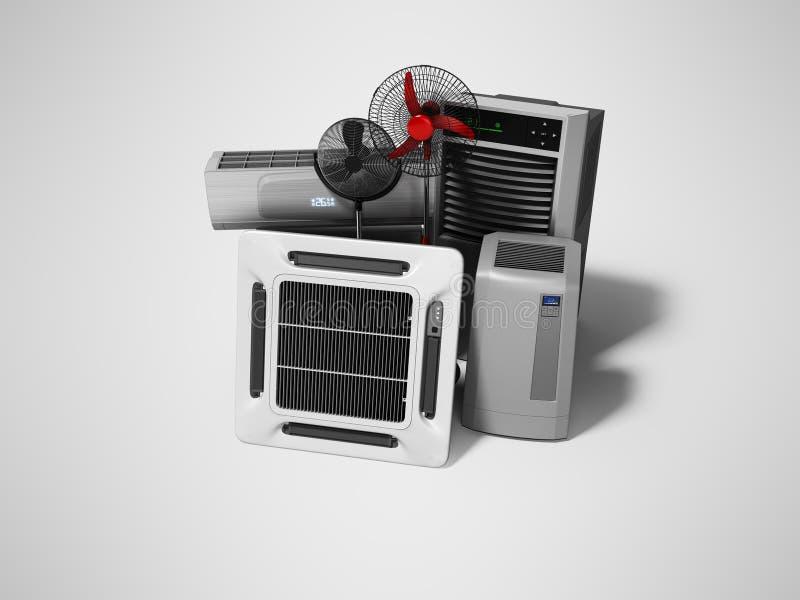 Gruppe Ausrüstung für das Abkühlen und Klimaanlage der Voraussetzungen 3d übertragen auf grauem Hintergrund mit Schatten lizenzfreie abbildung