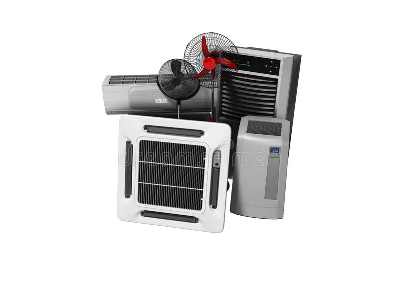 Gruppe Ausrüstung für das Abkühlen und Klimaanlage der Voraussetzungen 3d übertragen auf weißem Hintergrund keinen Schatten lizenzfreie abbildung