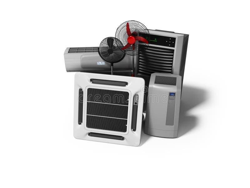 Gruppe Ausrüstung für das Abkühlen und Klimaanlage der Voraussetzungen 3d übertragen auf weißem Hintergrund mit Schatten stock abbildung