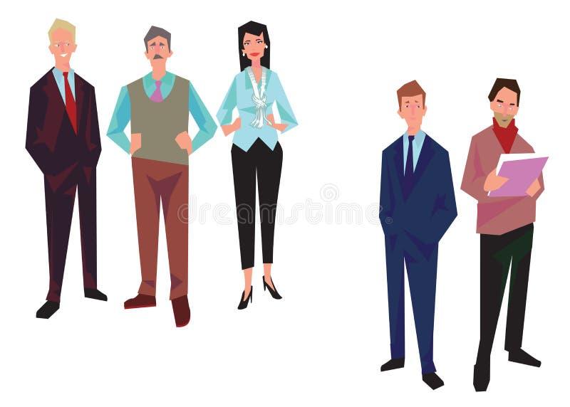 Gruppe Büroangestellte, Angestellte, Manager Geschäftsleute in der zufälliger und Bürokleidung Lokalisiert auf Weiß Schließt ENV, vektor abbildung