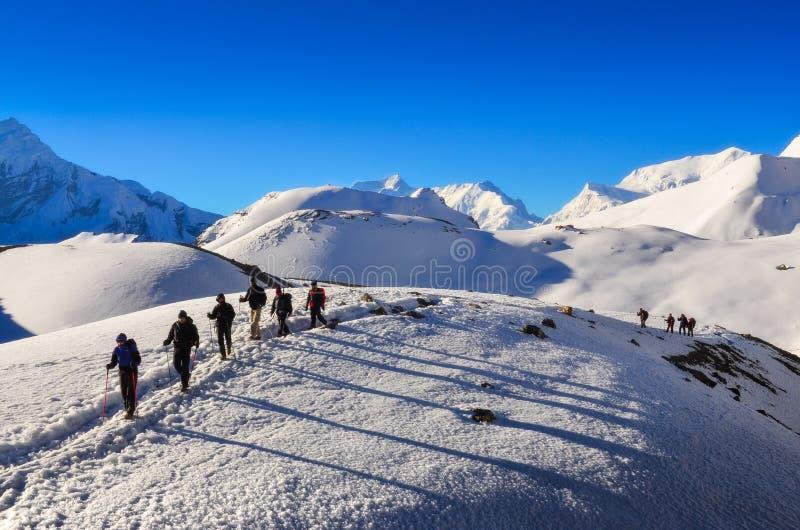 Gruppe Bergtrekkers in den Himalajabergen nahe Thorong-Ladurchlauf, Annapurna-Region lizenzfreie stockfotos