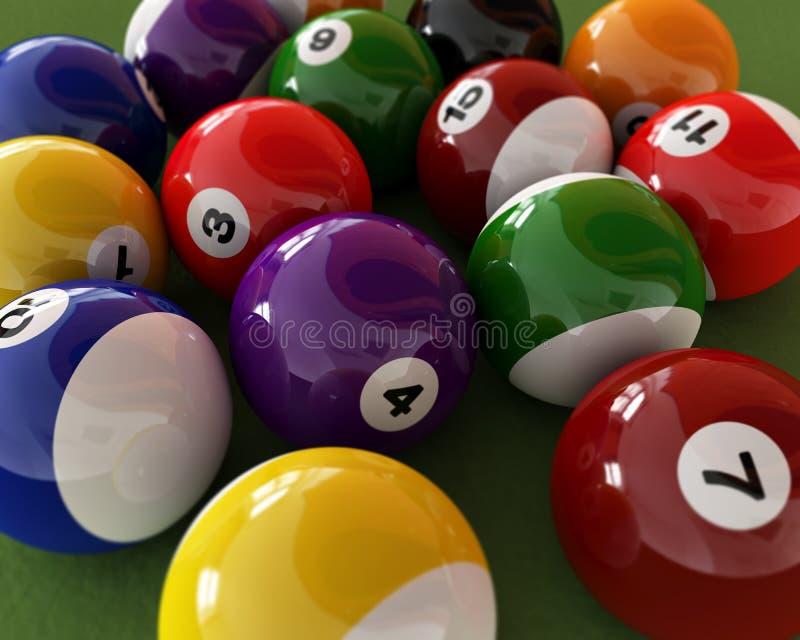 Gruppe Billardkugeln mit Zahlen, auf grüner Teppichtabelle. stock abbildung