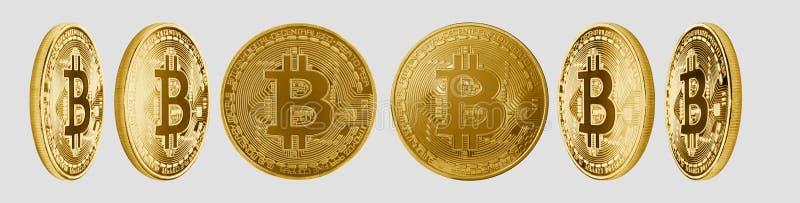 Gruppe Bitcoin-cryptocurrency lokalisiert auf Weiß lizenzfreies stockfoto