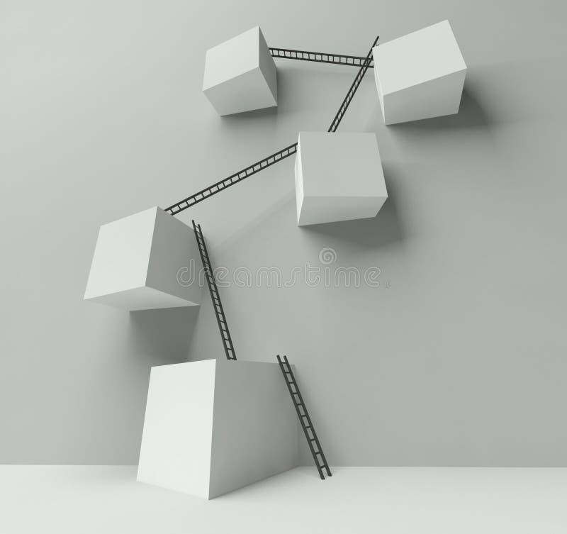 Gruppe Blöcke mit vielen Strichleitern auf Wand vektor abbildung