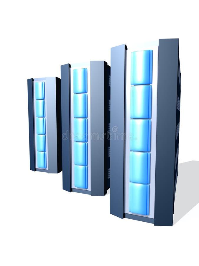 Gruppe blaue PC-Kontrolltürme lizenzfreie abbildung