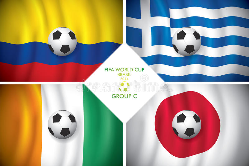 Gruppe C. FIFA Brasiliens 2014 fassen Schale ab. stock abbildung