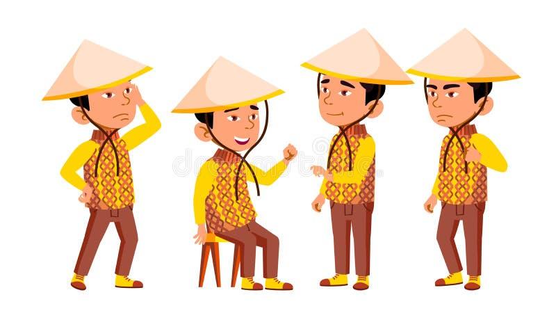 Gruppe Charakter-des vietnamesischen Kindervektors stock abbildung