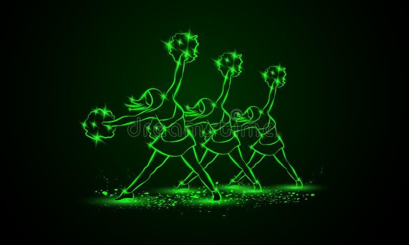 Gruppe Cheerleadern tanzt mit pom poms Grüner cheerleading Neonhintergrund vektor abbildung
