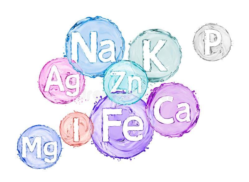 Gruppe chemische Mineralien und Mikroelemente lizenzfreie stockfotografie