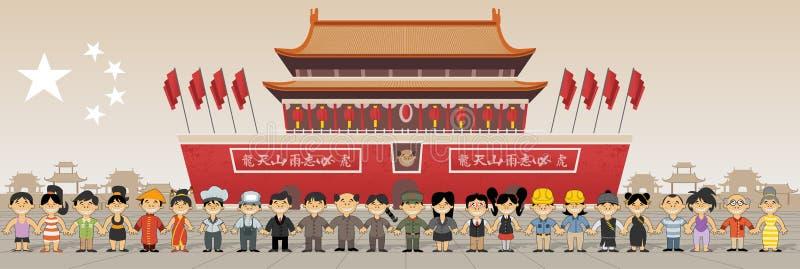 Gruppe chinesisches Volk vor Verbotener Stadt in Peking, China stock abbildung