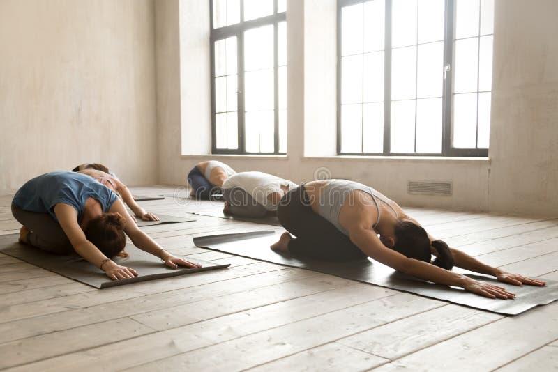 Gruppe der übenden Yogalektion der jungen Leute, Balasana-Übung tuend lizenzfreie stockfotos