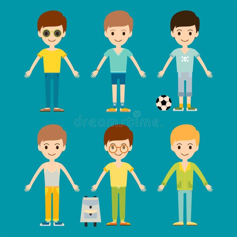 Gruppe der Jungenpersonen-Vektorillustration der Jungenporträtfreundschaftsmanncharakterteamglücklichen menschen vektor abbildung
