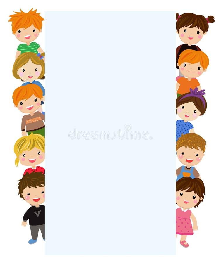 Gruppe der Kinder und der Fahne vektor abbildung