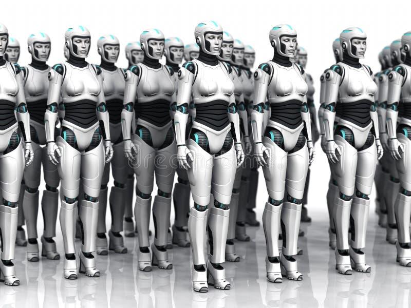 Gruppe der schlafenden androiden Frau. stock abbildung