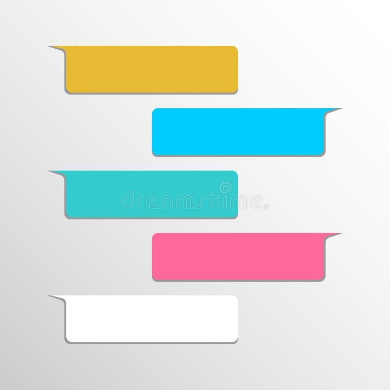 Gruppe der Schnittstelle des Gegenstandveränderungsschwätzchenblasen-Sozialen Netzes Mitteilung in den mehrfarbigen flachen Ballo stock abbildung