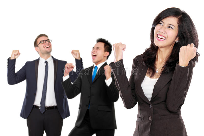 Gruppe des asiatischen jungen Wirtschaftlers, Frau als Teamleiter stan stockbild