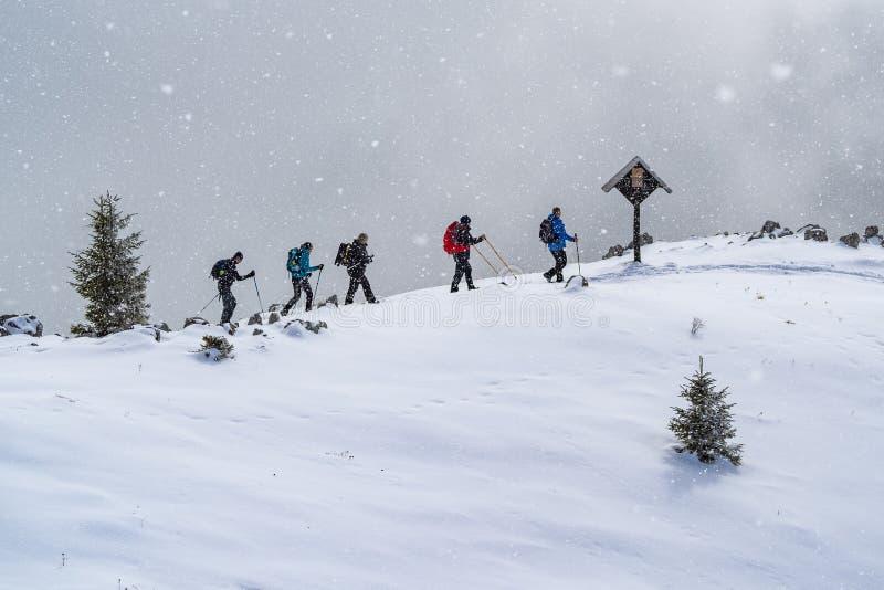 Gruppe des Bergsteigergehens lizenzfreie stockfotos