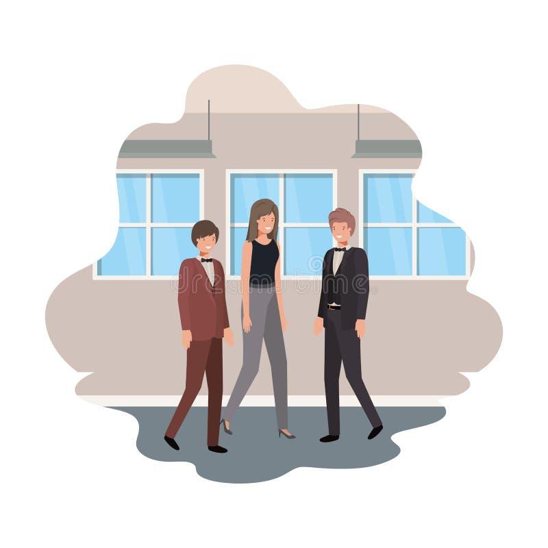 Gruppe des Geschäfts mit Wand- und Fensteravataracharakter stock abbildung