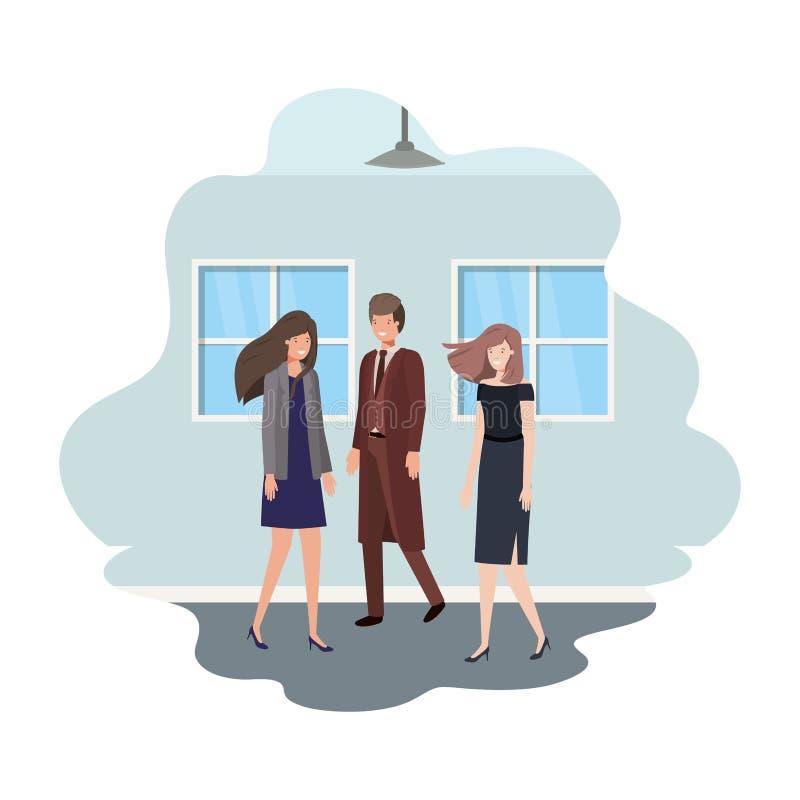 Gruppe des Geschäfts mit Wand- und Fensteravataracharakter lizenzfreie abbildung