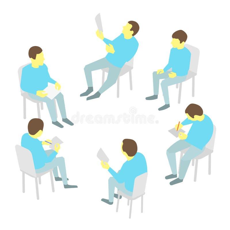 Gruppe des Geschäfts Teambesprechungskonferenz mit fünf Leuten stock abbildung