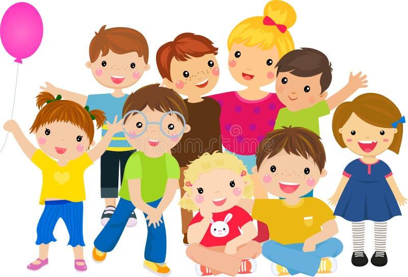 Gruppe des glücklichen Kinderspielens lizenzfreie abbildung