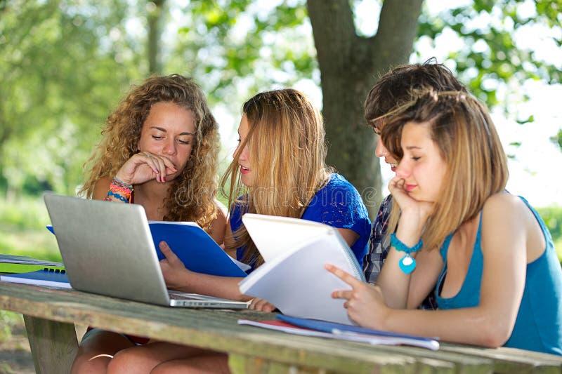 Gruppe des jungen Kursteilnehmers, der den Laptop im Freien verwendet lizenzfreie stockfotografie