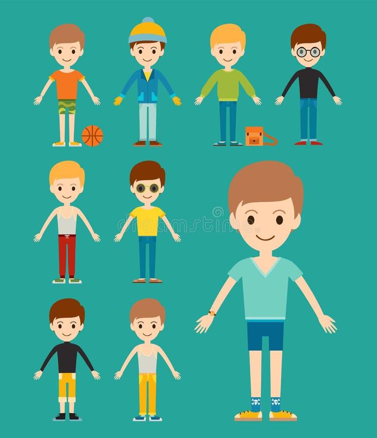 Gruppe des Jungenporträtfreundschafts-Manncharakters stock abbildung