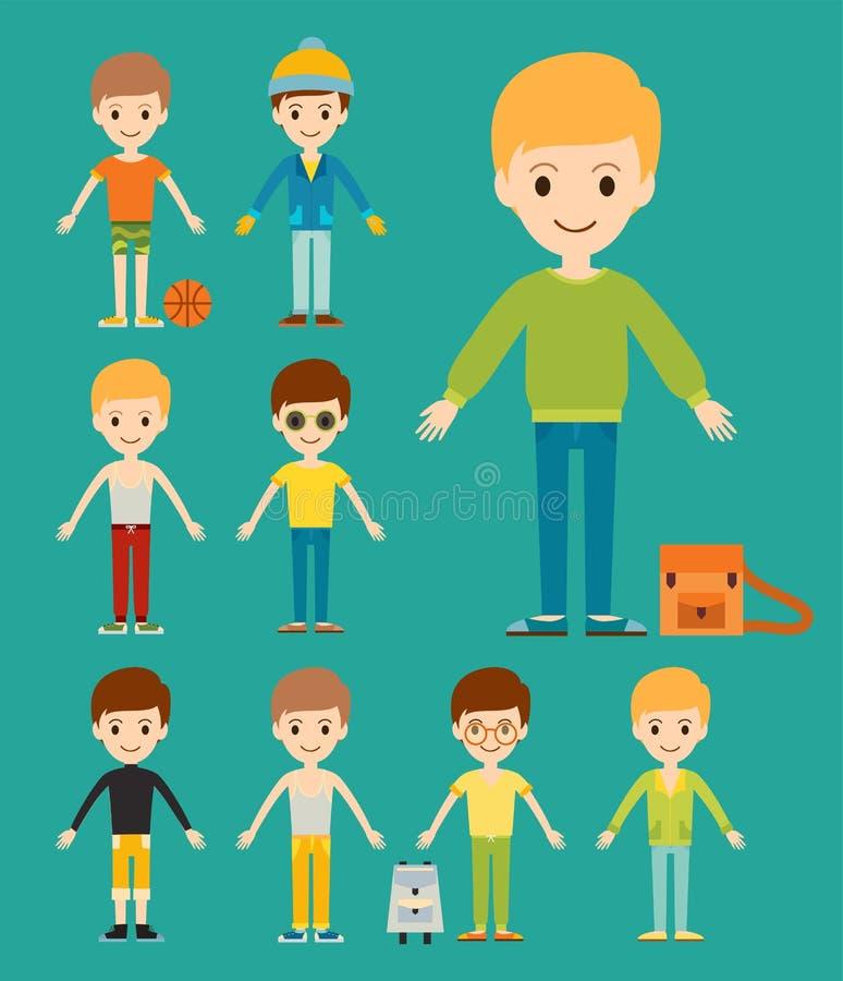 Gruppe des Jungenporträtfreundschaftsmann-Charakterteams stock abbildung