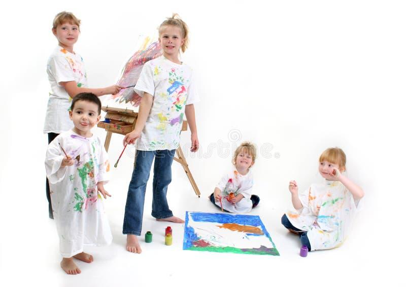 Gruppe des Kind-Malens lizenzfreies stockfoto