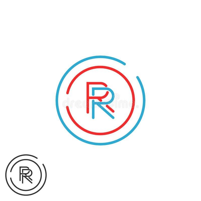 Gruppe des Kombination Eisenbahn-Logohippie-Monogrammbuchstaben R, überschneidene dünne Linie Kreisruhm-Visitenkarteemblem lizenzfreie abbildung