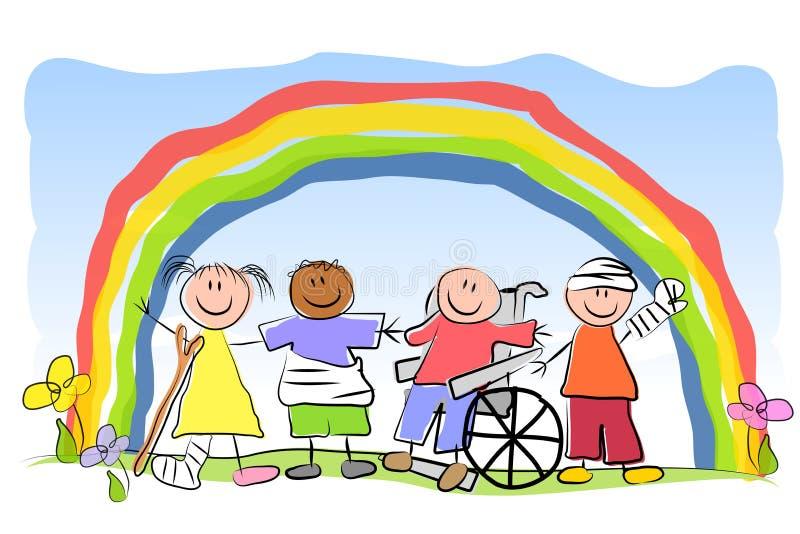 Gruppe des Kranken scherzt Regenbogen vektor abbildung