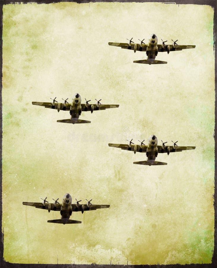 Gruppe des Militärkampfflugzeugs in der Schmutzart stockbilder