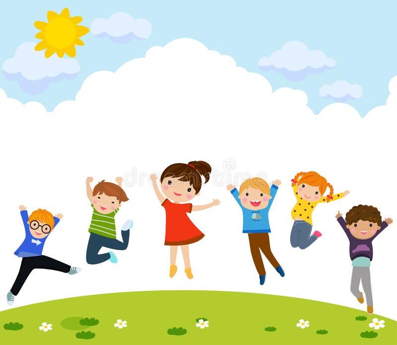 Gruppe des nettem Kinderspringens vektor abbildung