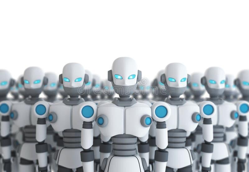 Gruppe des Roboters auf weißer, künstlicher Intelligenz stock abbildung