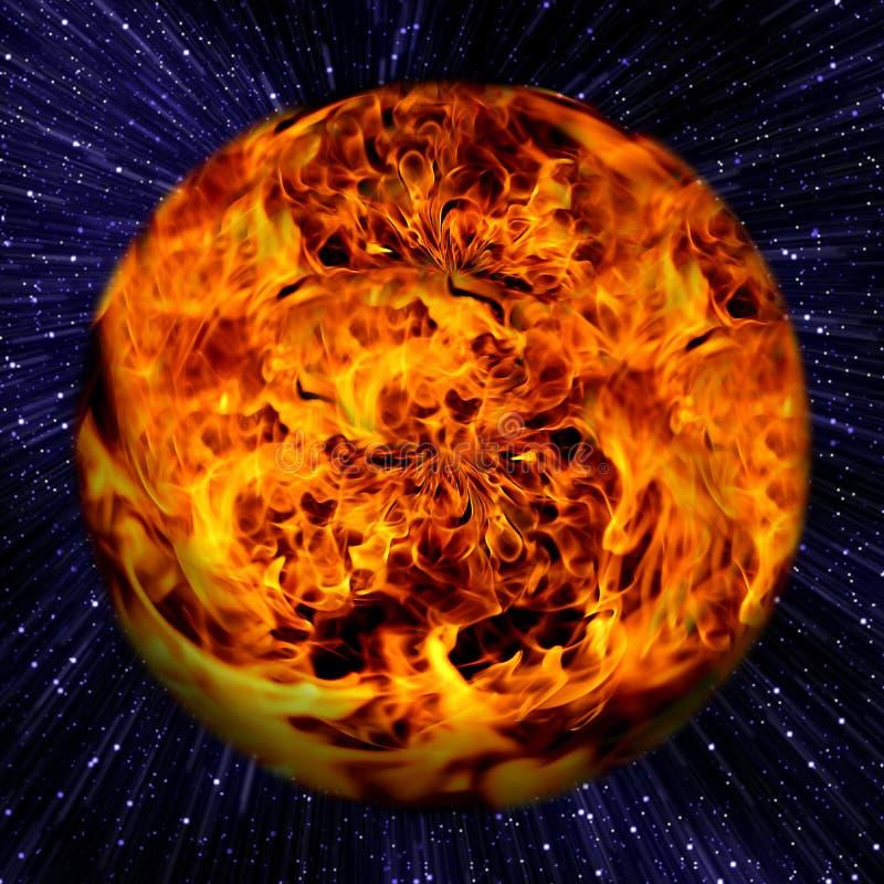 Gruppe des Sternes im Weltraum mit Feuerkugel. stock abbildung