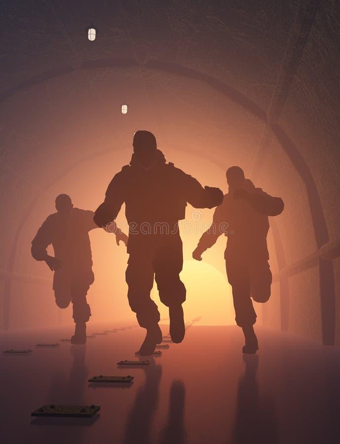 Gruppe in einem Tunnel stock abbildung