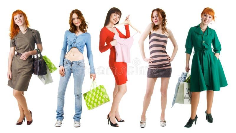 Gruppe Einkaufenmädchen lizenzfreies stockbild