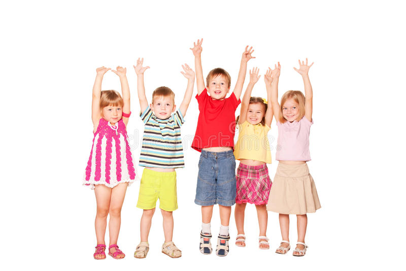 Gruppe emotionale Kinderfreunde lizenzfreie stockbilder