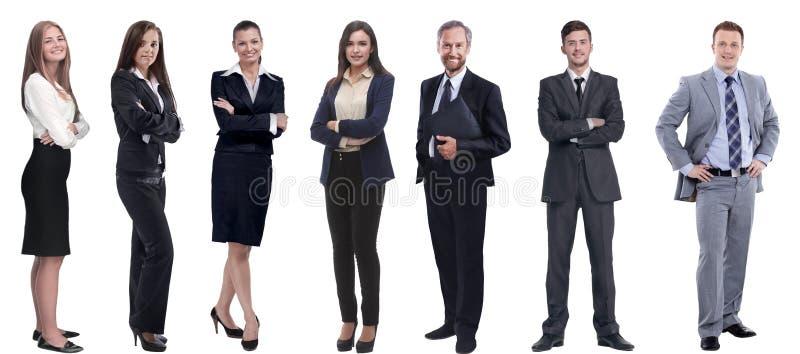 Gruppe erfolgreiche Geschäftsleute, die in Folge stehen stockbilder