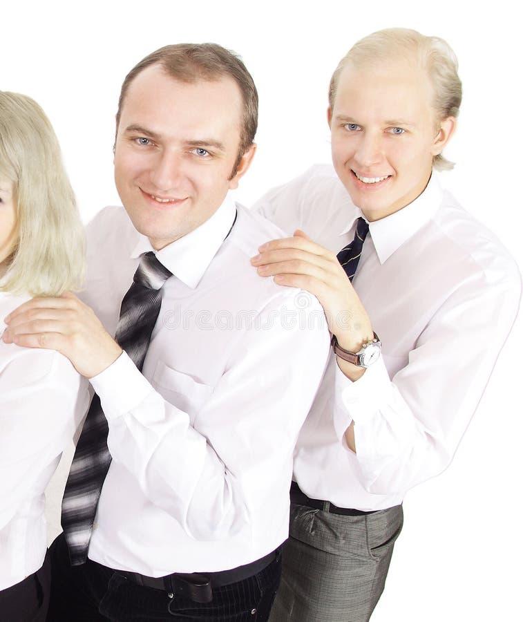 Gruppe erfolgreiche lächelnde Geschäftsleute - lokalisiert auf Weiß stockfotografie