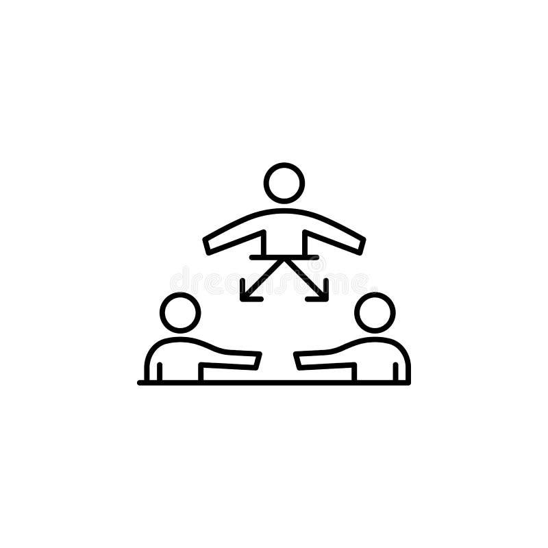 Gruppe, Führung, organisiertes Symbol Element des professionellen Icons für mobile Konzepte und Web-Apps Thin Line Group, vektor abbildung