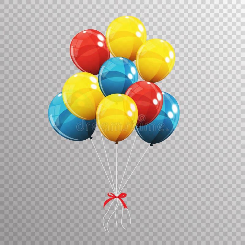 Download Gruppe Farbglatte Helium-Ballone Auf Transparentem B Vektor Abbildung - Illustration von unterhaltung, flugwesen: 90230972