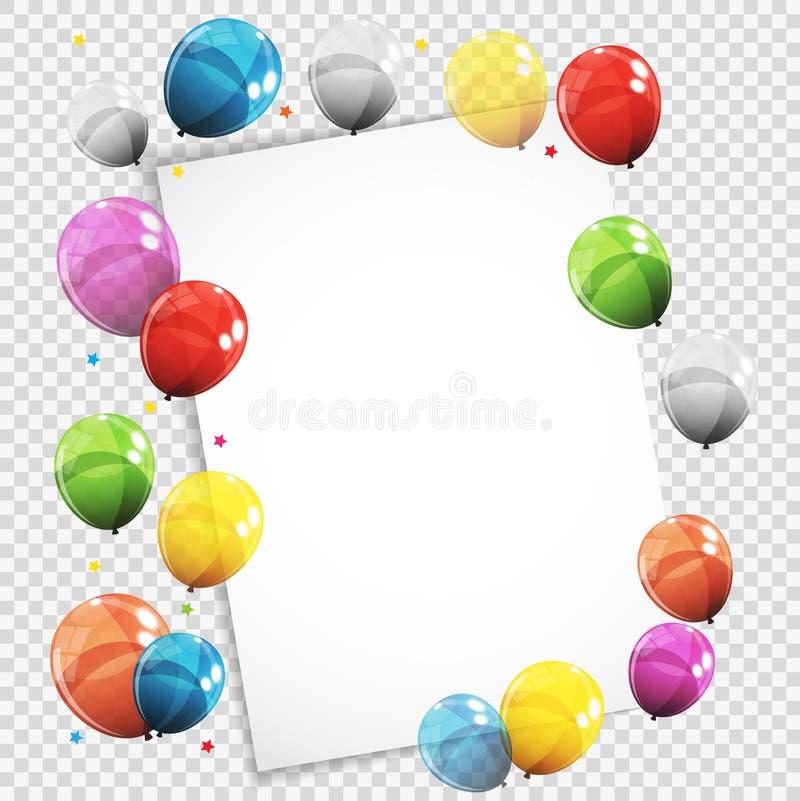 Download Gruppe Farbglatte Helium-Ballone Mit Leerseite Vektor Abbildung - Illustration von unterhaltung, mehrfarben: 90231058